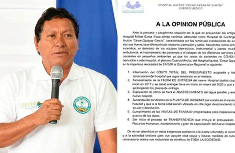 El gobernador de Loreto responde a las criticas del hospital Apoyo
