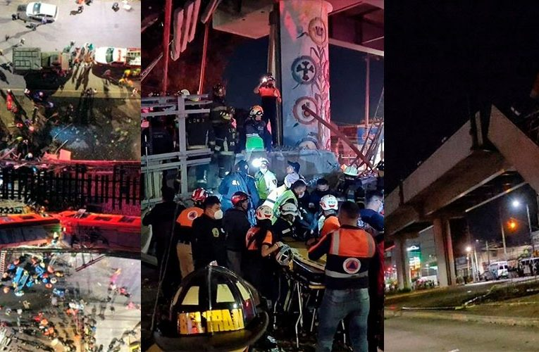 Las impactantes fotos del derrumbe del metro que dejo varios muertos y heridos en México